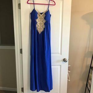 Lilly Pulitzer, kelsea silk maxi, blue, 8